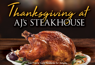 thanksgiving at aj's steakhouse